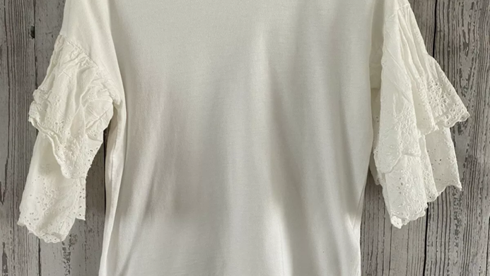 Womens / Ladies Topshop White Flare Embroided T-Shirt Top Size 8 Immaculate