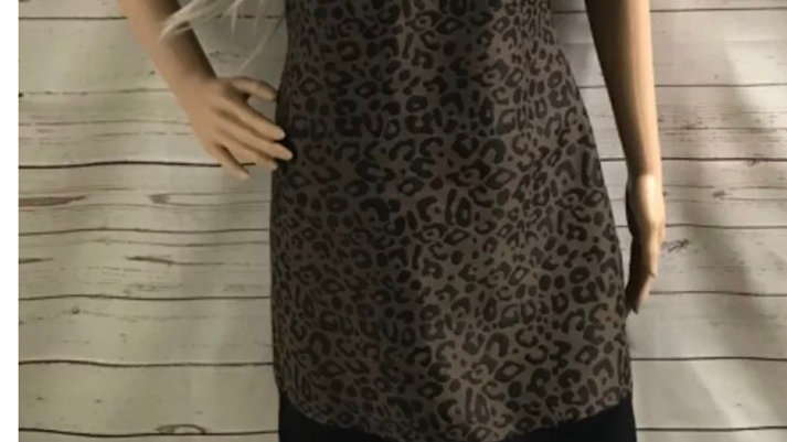 Womens / Ladies Leopard Print Short Sleeve Ribbed Dress Size 12 Immaculate