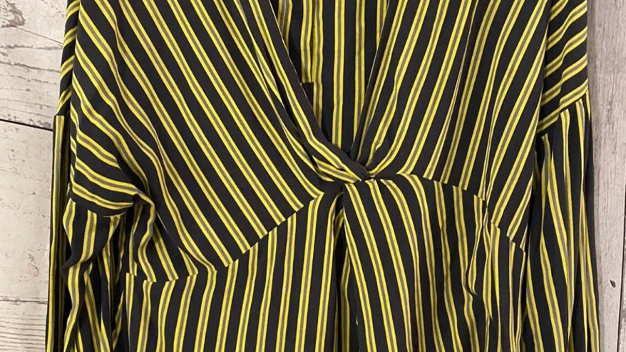 Womens / Ladies Marks & Spencer Yellow Navy Blouse Top Size 14 - Immaculate