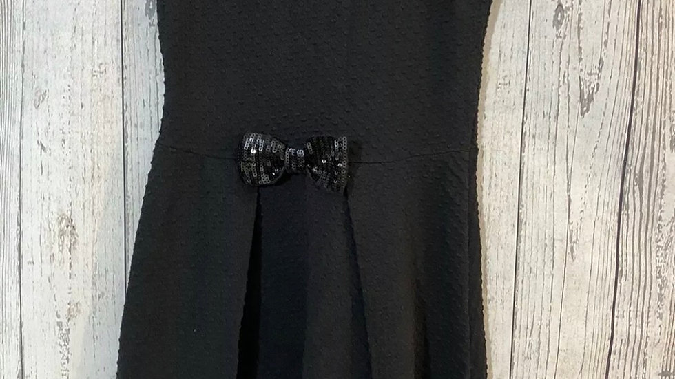 Girls George Black Dress With Sequence Bow Age 9-10 Years Immaculate Condition