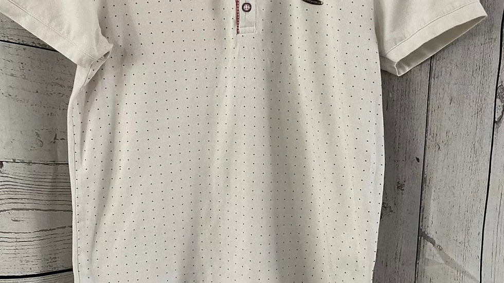 Mens Bewley Rich White Polka Dot Polo Neck T-Shirt Size Large Good Condition