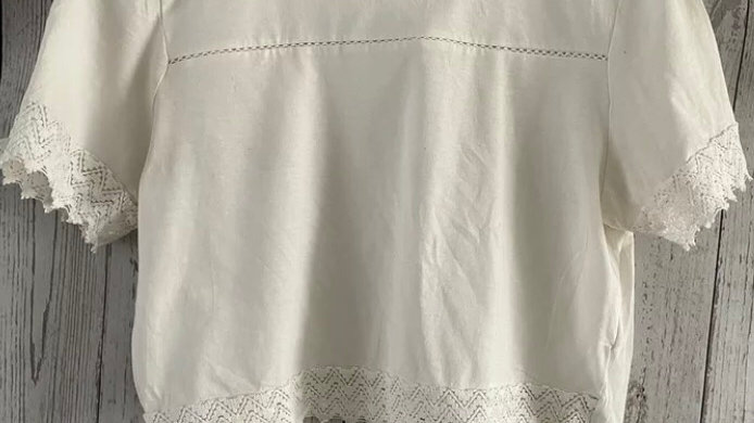 Womens / Ladies Primark Cropped Cream T-Shirt Size Small Uk 10-12 Immaculate