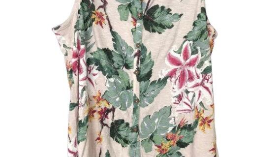 Womens / Ladies Fat Face Pink Button Cotton Top Size 10 Excellent Condition