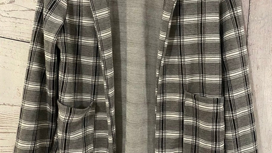 Womens / Ladies Missguided Black & White Check Cardigan Hang Jacket Size 10