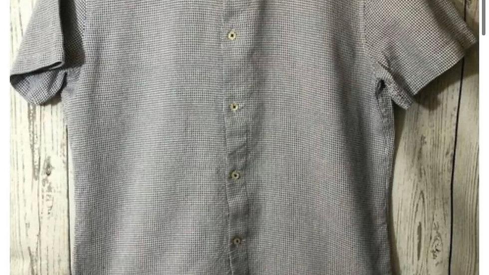 Men's Next Burgundy & White Check Short Sleeve Slim Fit Shirt Size Medium