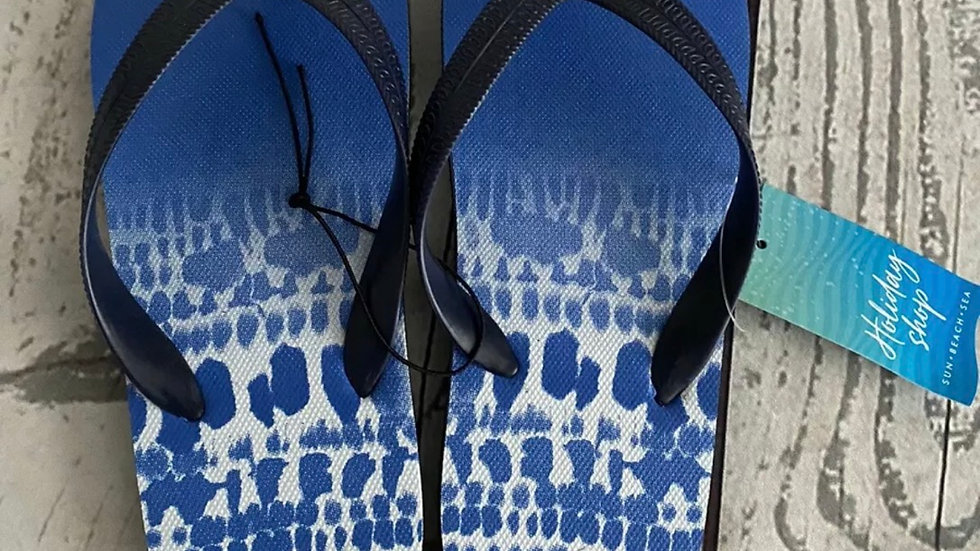 Boys Matalan Blue White Flip Flops Size 4 New With Tags