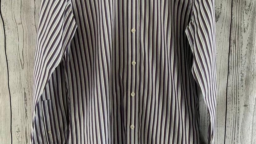 "Mens Ted Baker Endurance Long Sleeve Stripe Purple Shirt 15"" Collar 38"" Chest"