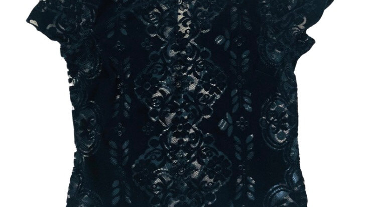 Womens / Ladies Lipsy Black Velvet Floral Lace Top Size 14 Excellent Condition