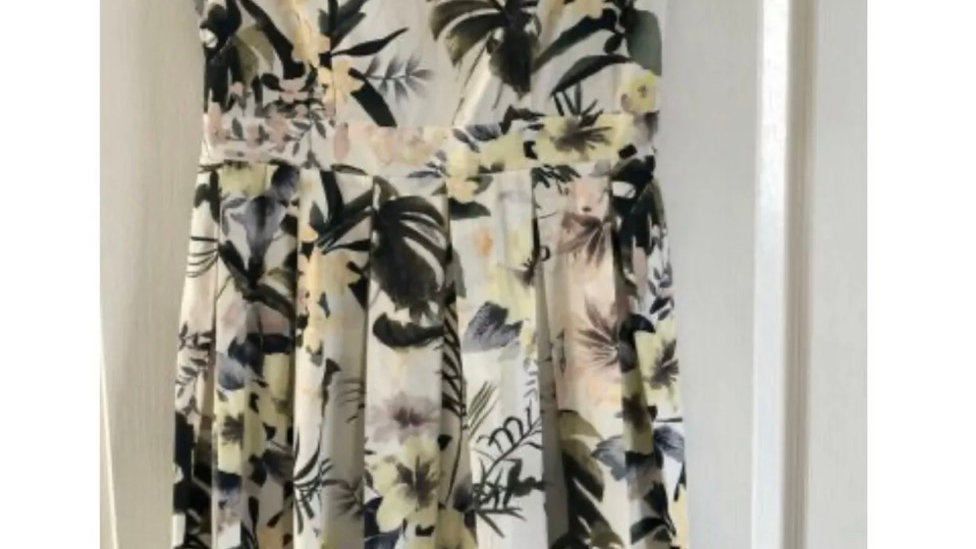 Women's / Ladies Dorothy Perkins Summer Floral Yellow & Green Dress Size 8
