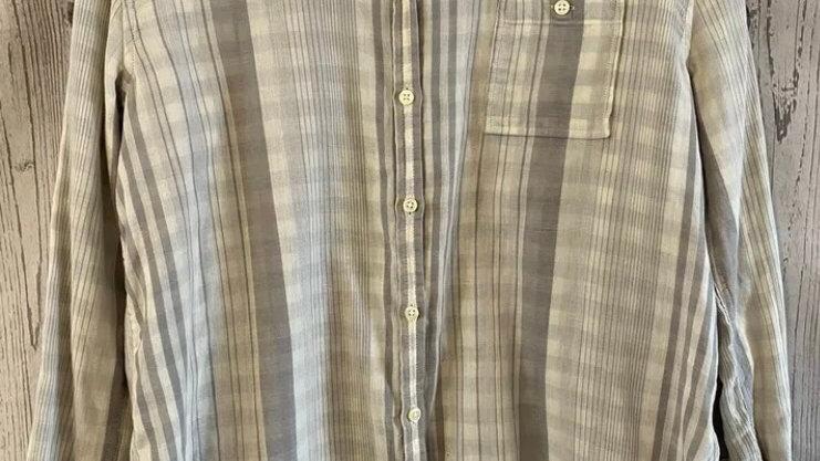 Womens / Ladies Banana Republic Grey Stripe Shirt Petite PL Excellent Condition