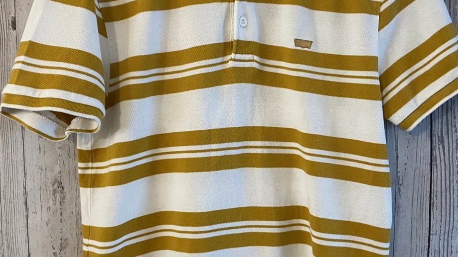 Mens Levis Mustard & White Stripe Polo Neck T-Shirt Size Medium Excellent