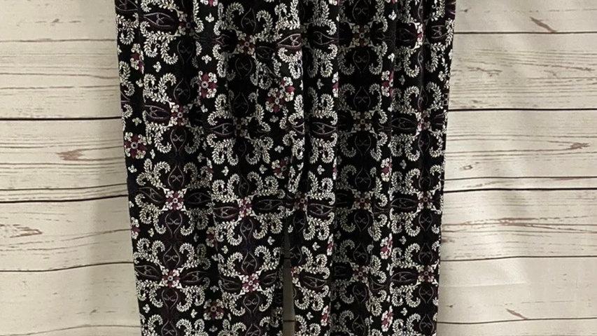 Womens / Ladies Flow Summer Purple Black Trousers Size M/L New