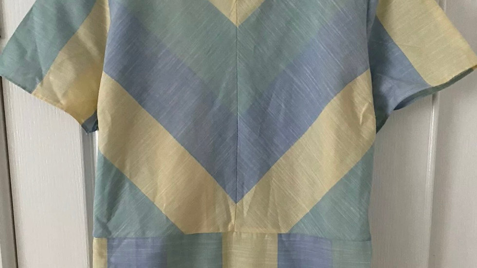 Womens / Ladies TU Blue Yellow Short Sleeve Cotton Top Size 16 Immaculate
