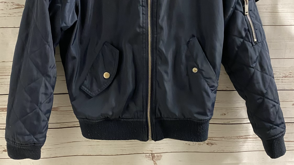 Girl New Look Navy Bomber Jacket With Hood Age 9 Years Excellent Condition