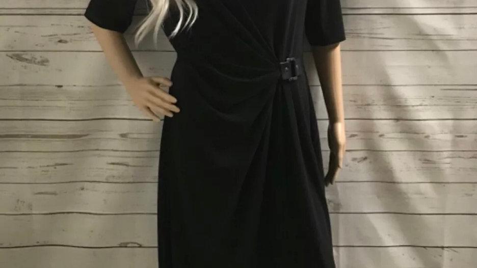 Womens / Ladies Evan Picone Black Short Sleeve Dress Size 12 Excellent Condition