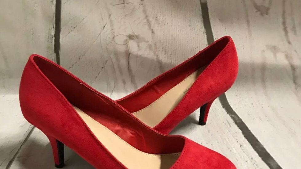 Women's  Red Dorothy Perkins suede court shoe High Heels Size  6 new with label