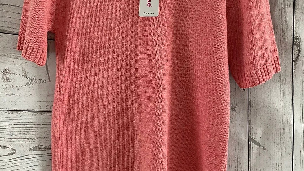 Womens / Ladies Glimpse Design Pink Knitted Short Sleeve Jumper Size S/m NEW