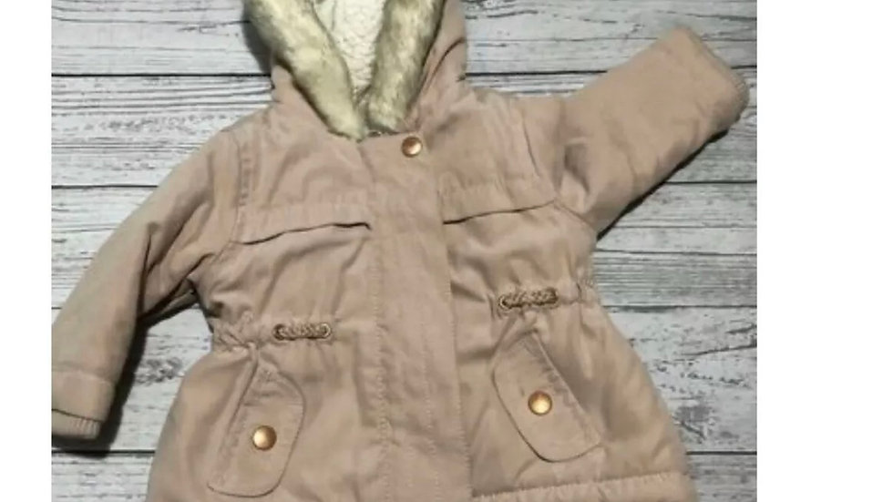 Baby Girls George Pink Peach Fleece Lined Coat & Hood Age 0-3 Months