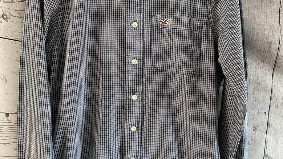 Mens Hollister Blue White Check Long Sleeve Shirt Size Small Immaculate