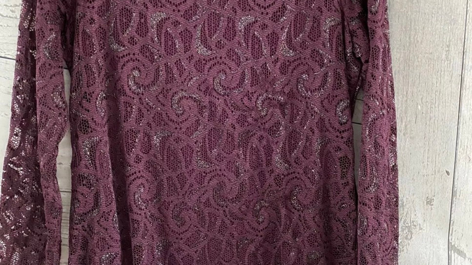 Womens / Ladies Marks & Spencer Plum Long Sleeve Lace & Lined Top Size 12