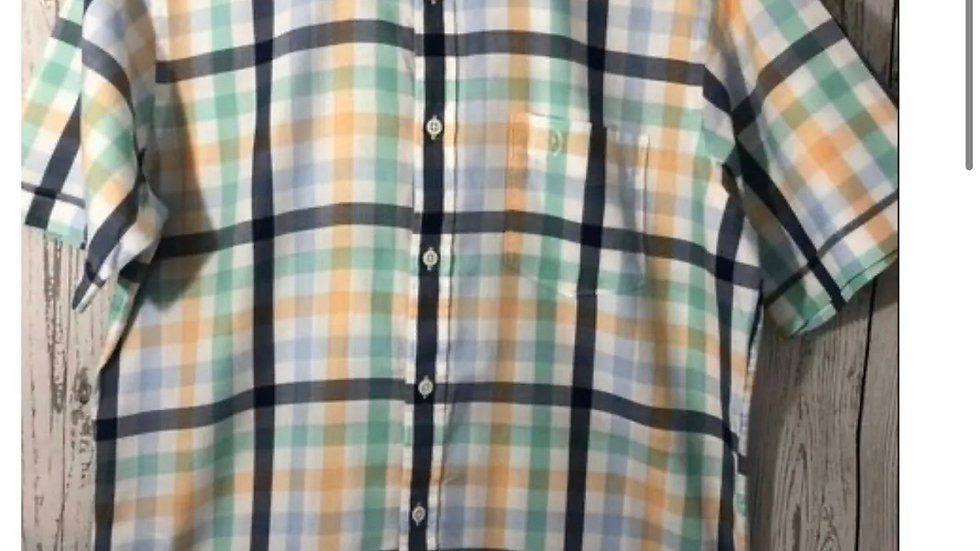 Men's Blue Harbour Marks & Spencer Short Sleeve Soft Cotton Check Shirt - Small