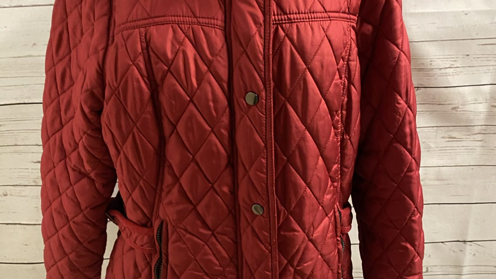 Womens / Ladies George Red Quilted Coat Size 18 Immaculte Condition