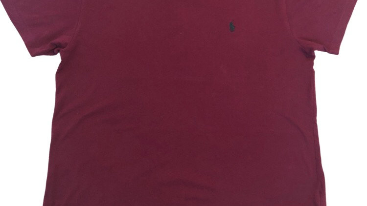 Mens Polo Ralph Lauren Burgundy V Neck T-shirt Size Large Excellent Condition
