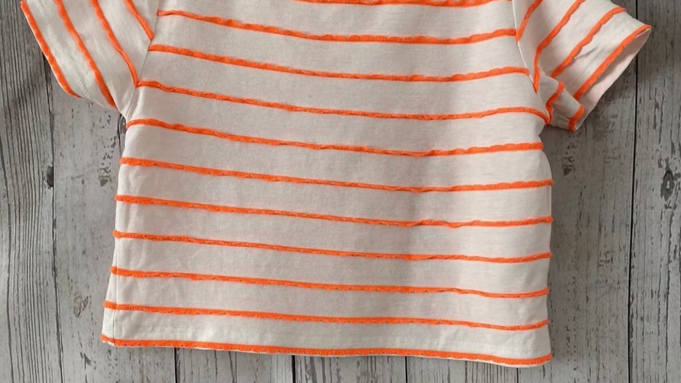 Girls River Island Beige Orange Cropped T-Shirt Age 5 Years Good Condition