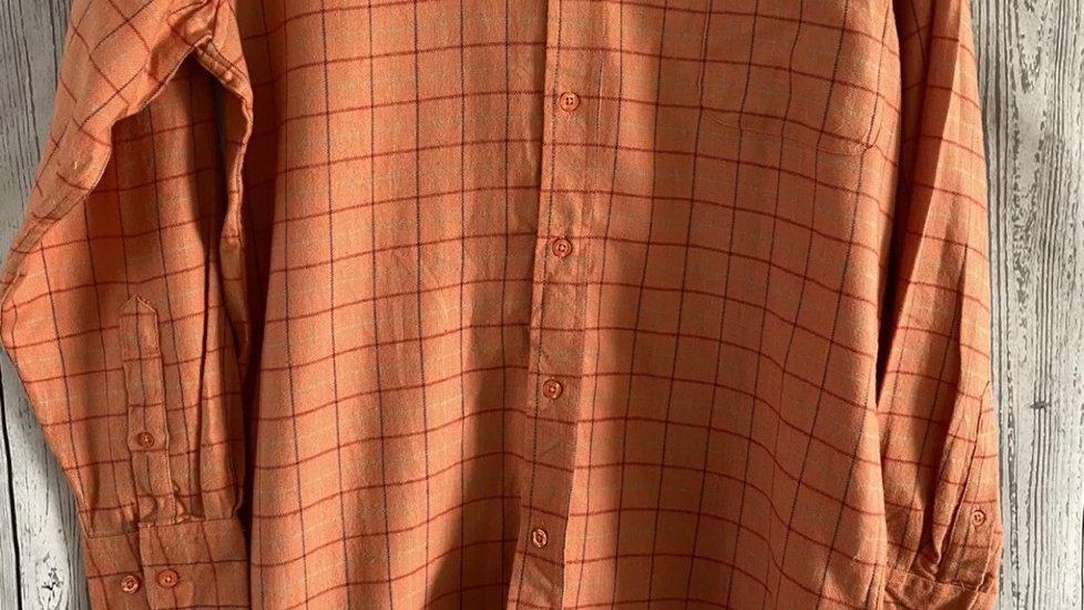 Mens Pegasus Orange Check Long Sleeve Shirt Size Medium New With Tags