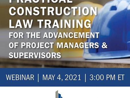 Practical Construction Law Training - May 4 Webinar