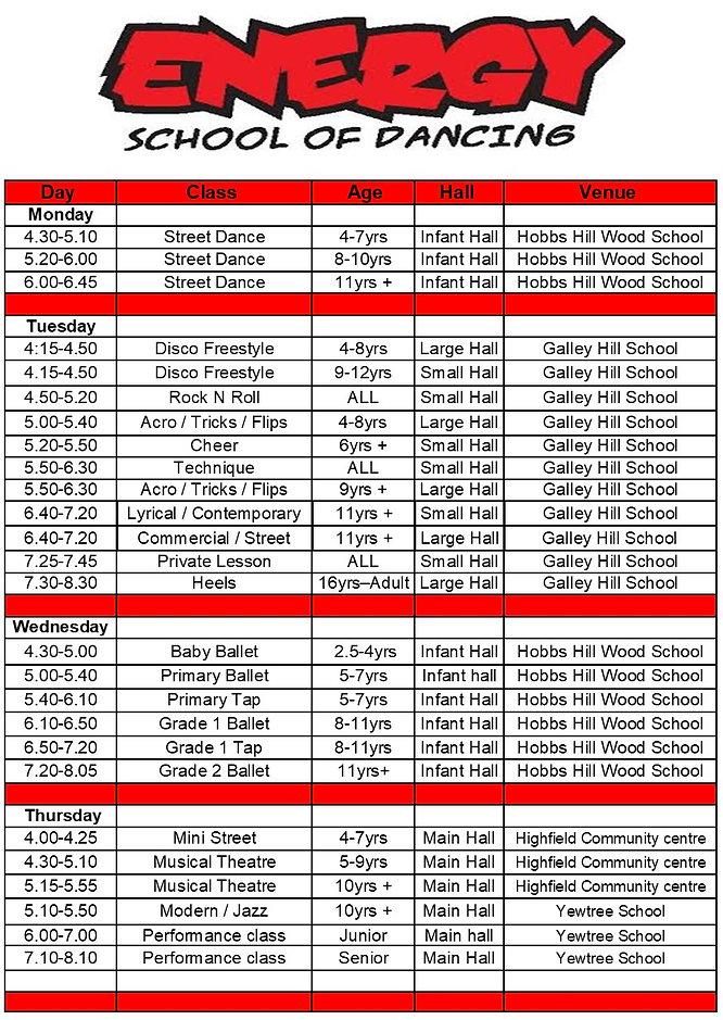 Autumn timetable 2020 2nd half term Dece