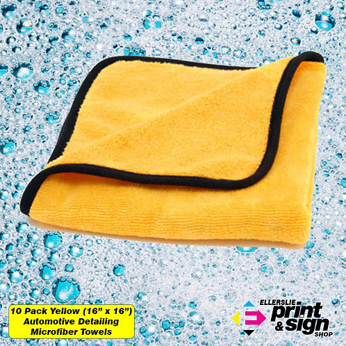 "10 Pack Yellow (16"" x 16"") Large Automotive Detailing Towels"