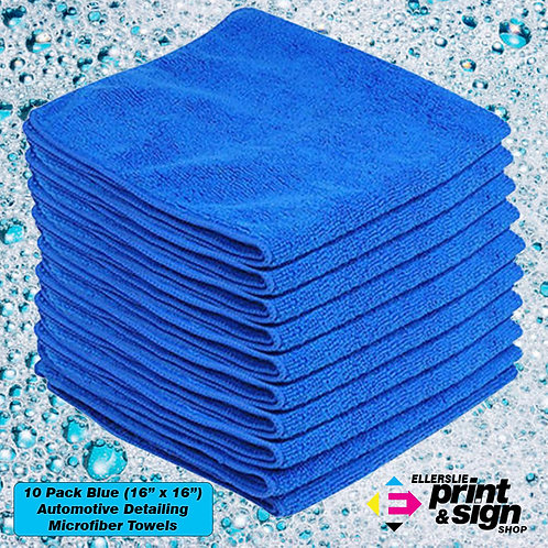 """10 Pack Blue (16"""" x 16"""") Large Automotive Detailing Towels"""