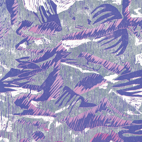 Lovely lino cut in pink and purple