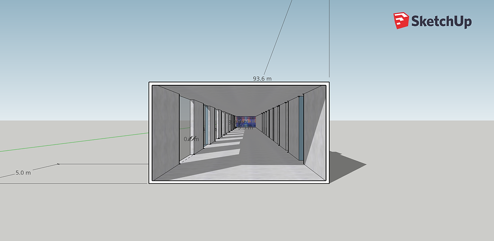 3D sketch of tunnel with windows