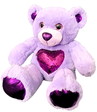 Flip Sequins Purple Heart Bear