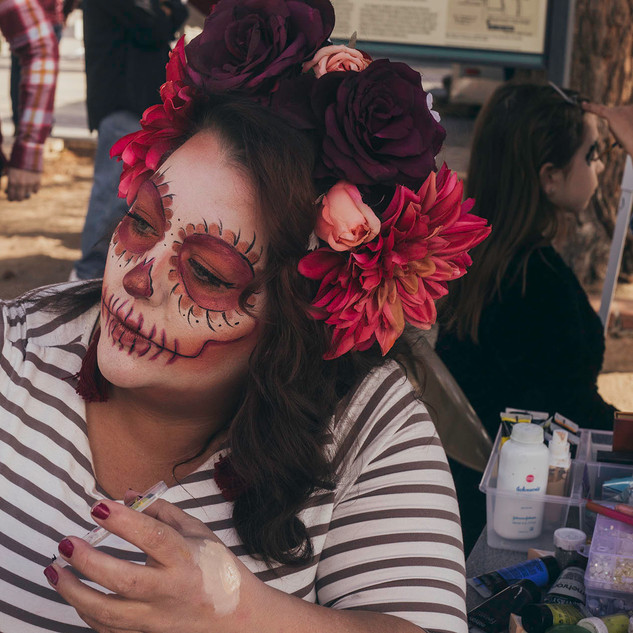 Day of the dead face painter