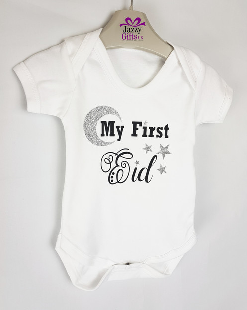 32ca16af9 My First Eid Baby Vest Moon and stars Texured Glitter giving the vest the  bling look. A Perfect Gift to give this Eid. 100% Cotton Machine Wash and  iron ...