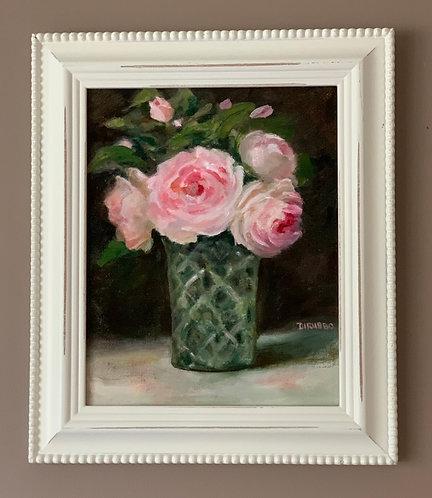 Pink Roses in a Cut Glass Vase   Oil 8 x 10 Framed