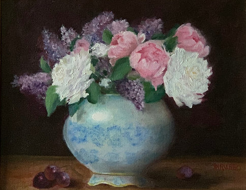 Peonies and Liliacs in Antique Vase  Oil 11 x 14