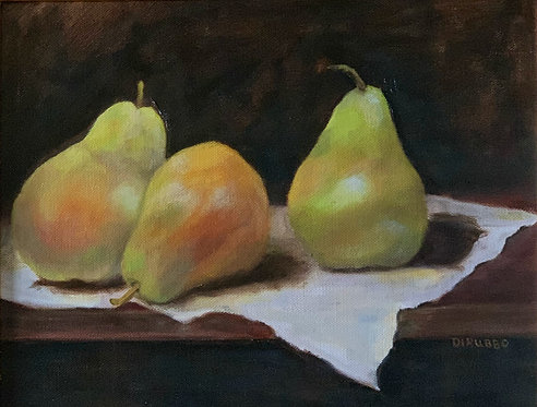 3 Pears  on a Table  Oil      11 x 14 SOLD