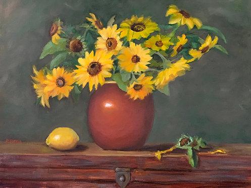 Lemon Sunflowers      Oil  16 x 20  SOLD