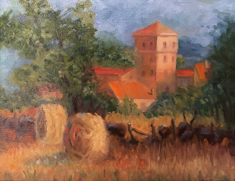 Hay Stacks in a Field in Andalucia Oil 11 x 14