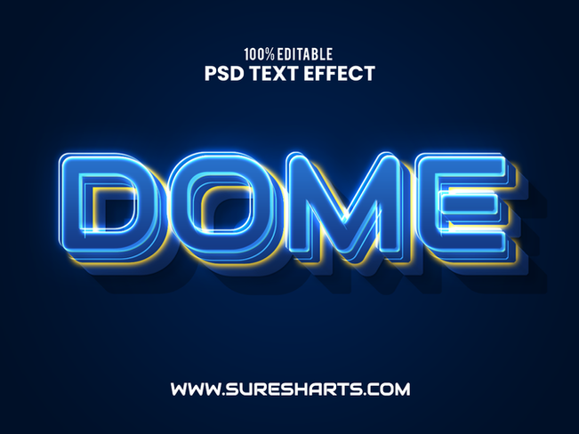 Blue Neon PSD Text Effect - Free Download