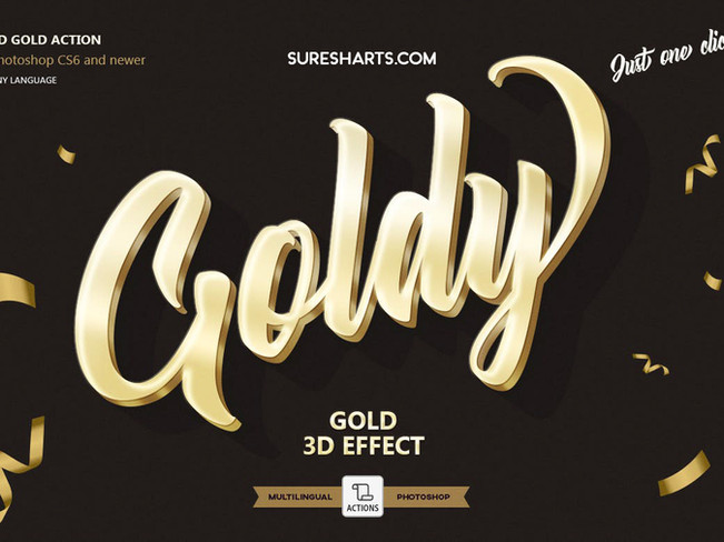 Creative Market - Gold 3D Photoshop Action [Free Download]