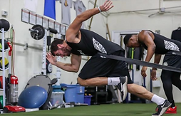 A college football player does speed training at TopSpeed prior to camp with the Kansas City Chiefs