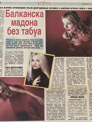 Novosti Intervju (Balkan Madonna) 2001