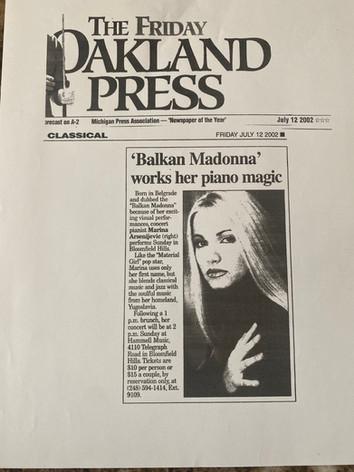 Oakland Press (Balkan Madonna) 2002