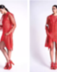 3D Printed red dress worn by a woman.png