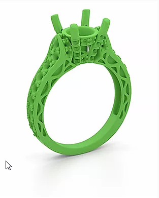 3D printed ring ready to be cast into a
